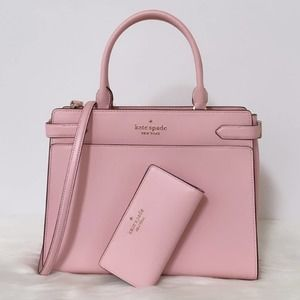 New Kate Spade Staci Large Satchel and Wallet Set/Pink/ Saffiano Leather